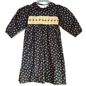 Vintage Prairie 80s Toddler Dress Navy Blue Floral